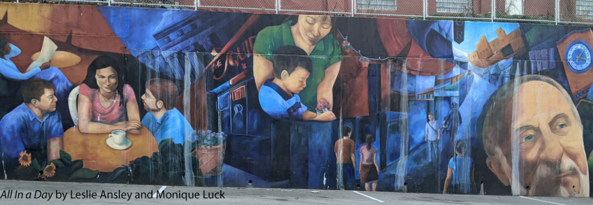 Colorful mural of people in every day life.